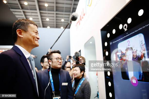 Alibaba Group Executive Chairman Jack Ma tours the Alibaba Showcase at the PyeongChang 2018 Winter Olympic Games on February 10 2018 in Gangneung...