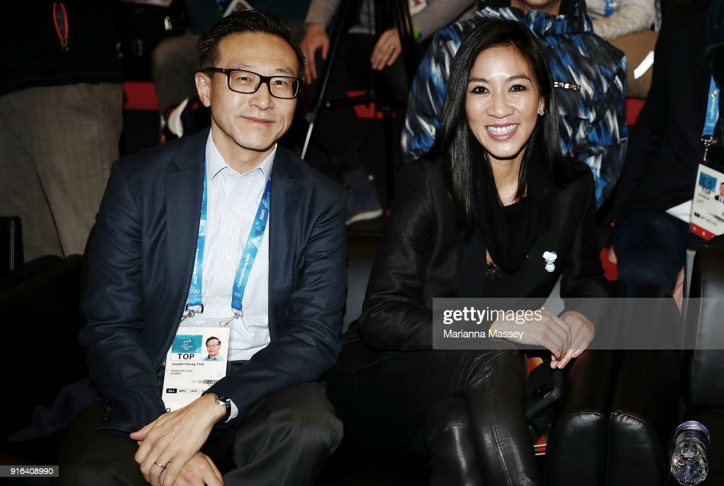 Alibaba Group Executive Vice Chairman Joe Tsai and Olympic figure skater Michelle Kwan at the opening of the Alibaba Showcase at the PyeongChang 2018 Winter Olympic Games on February 10, 2018 in Gangneung, South Korea.