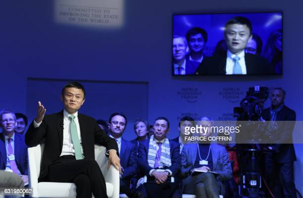 Alibaba Group Founder and Executive Chairman China's Jack Ma speaks during a panel session on the second day of the World Economic Forum on January...