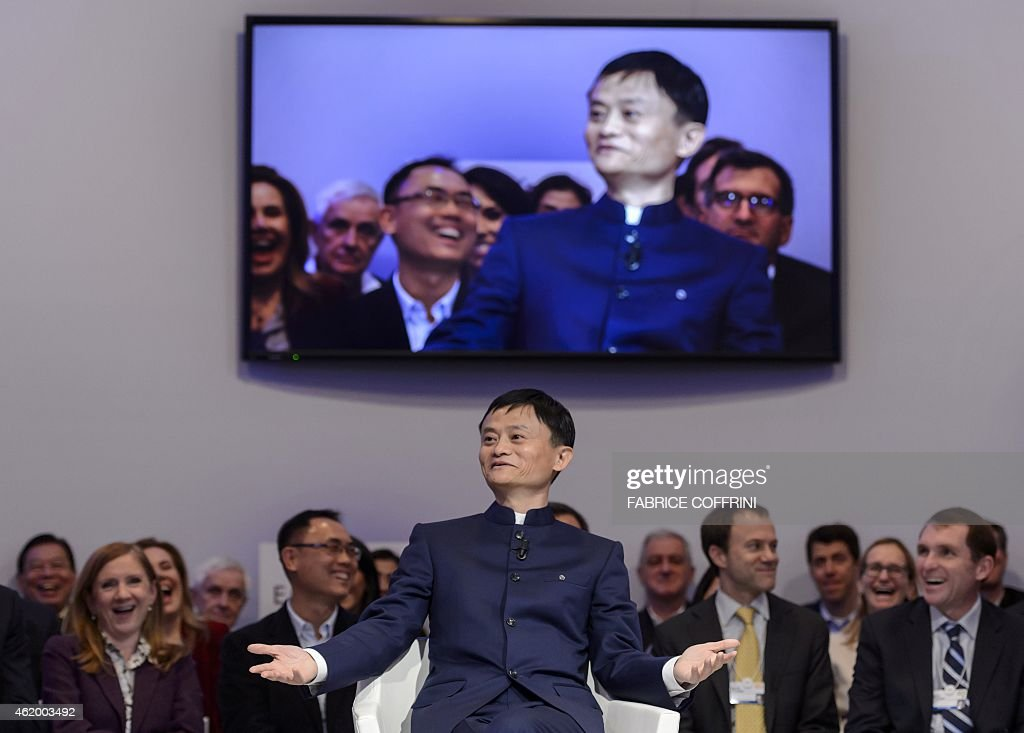 Alibaba Group Founder and Executive Chairman Jack Ma gestures as he speaks during a session of the World Economic Forum (WEF) annual meeting on January 23, 2015 in Davos.
