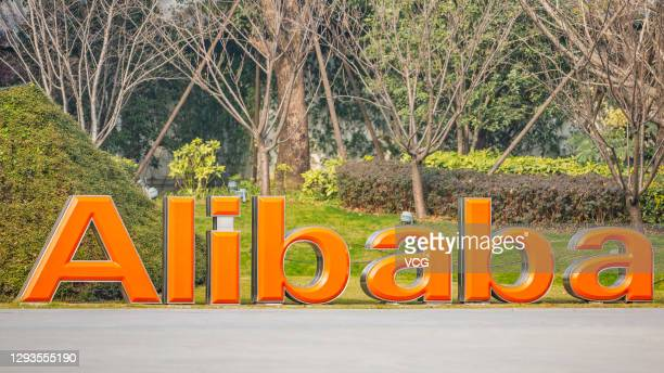 Alibaba Group logo is seen at the company's headquarters on December 28, 2020 in Hangzhou, Zhejiang Province of China.