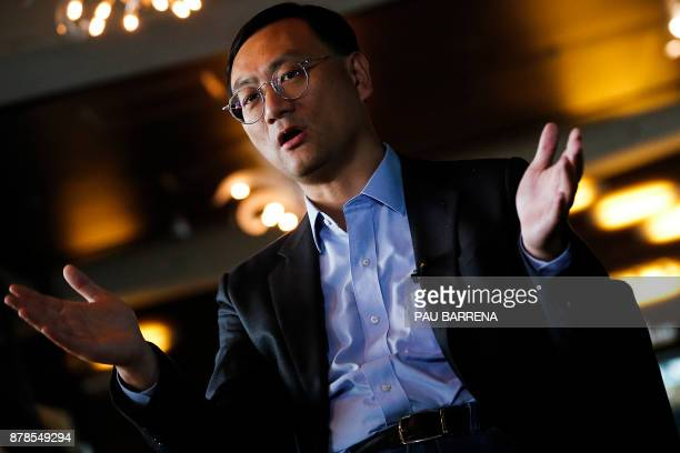 Alibaba Group subsidiary Alisports' chief executive officer Zhang Dazhong speaks during an interview with AFP on the sidelines of the European finals...