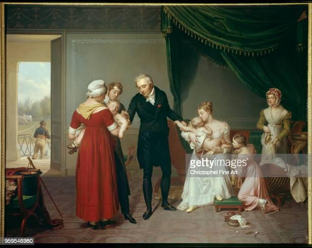 Alibert vaccinating a child against smallpox at the Chateau de Liancourt 1820 Desbordes Constant Musee De L Public Assistance of Paris France