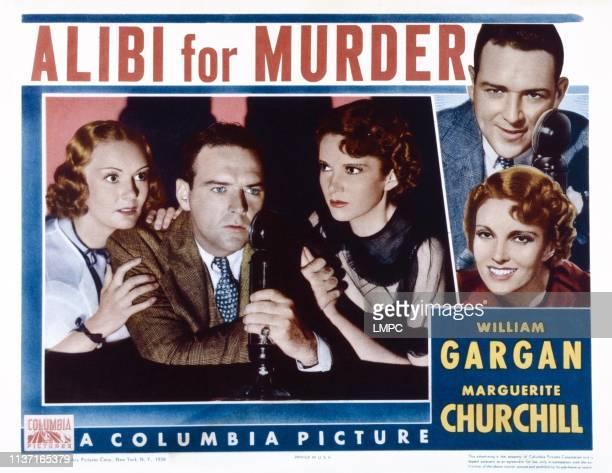 Alibi For Murder lobbycard US poster art inset from left Drue Leyton William Gargan Marguerite Churchill right from top William Gargan Marguerite...