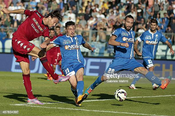 Alibin Ekdal of Cagliari Calcio scores the opening goal during the Serie A match between Empoli FC and Cagliari Calcio at Stadio Carlo Castellani on...