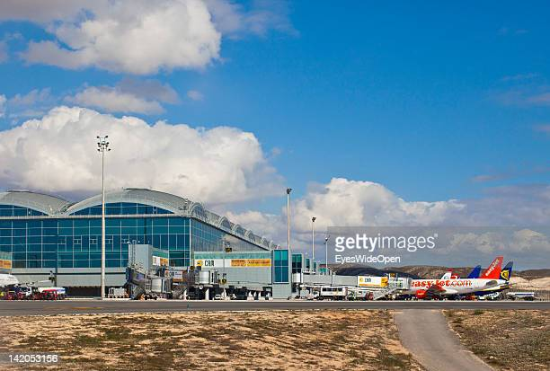Alicante Airport with passenger jets at the gates on February 18 2012 in Alicante Spain