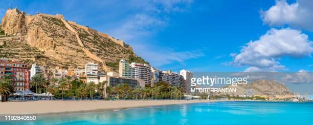 alicante playa postiguet beach in mediterranean - alicante stock pictures, royalty-free photos & images