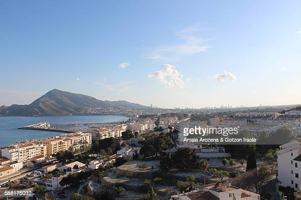 Alicante province, Spain. View from the top of the village of Altea, in the background Benidorm city
