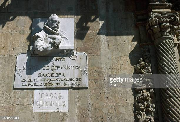 Alicante Valencian Community Spain Sculpture of Miguel de Cervantes Saavedra Spanish novelist and poet the creator of Don Quixote fully titled The...