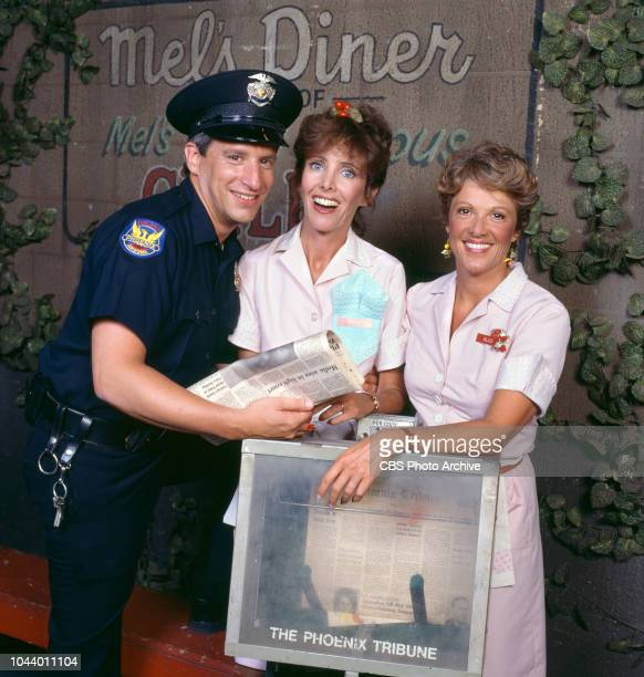Alice a CBS television situation comedy about characters who work and dine at Mel's Diner January 1 1983 Pictured is Charles Levin Beth Howland Linda...