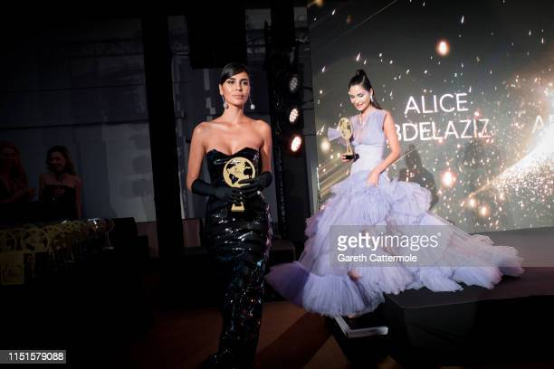 Alice Abdelaziz and Farah Abdelaziz attends the Inaugural 'World Bloggers Awards' during the 72nd annual Cannes Film Festival on May 24, 2019 in...