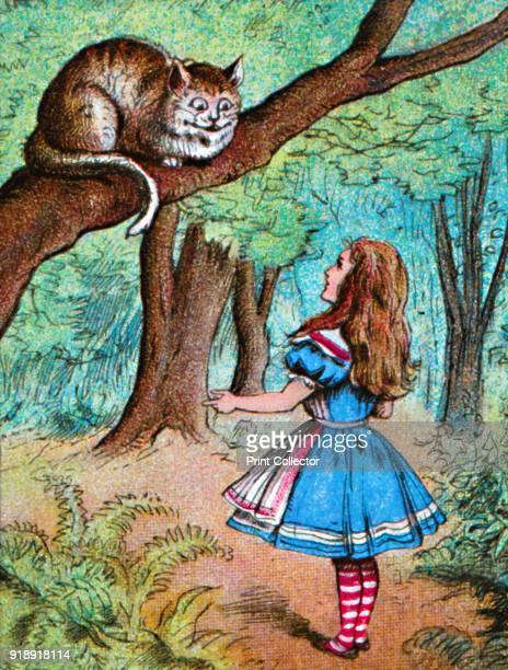 'Alice and the Cheshire Cat' c1910 From Alice in Wonderland by Lewis Carroll [W Butcher Sons London c1910]Artist John Tenniel