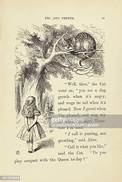 Alice and the Cheshire Cat illustration by John Tenniel for Alice in Wonderland by Lewis Carroll United Kingdom 19th century