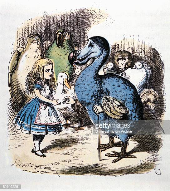 Alice and the Dodo Alice's Adventure in Wonderland by Lewis Carroll Hand Colored Illustration Circa 1865