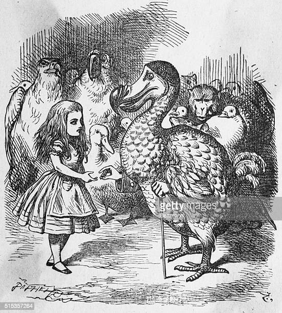 Alice and the Dodo in Lewis Carroll's Alice in Wonderland 1865 Drawing by John Tenniel