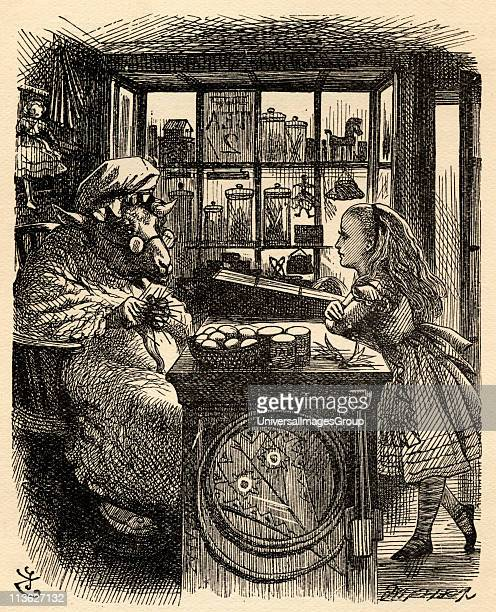 Alice and the Knitting SheepIllustration by Sir John Tenniel 18201914 From the book 'Through the LookingGlass and What Alice Found There' by Lewis...