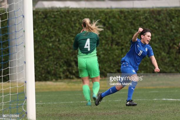 Alice Anghileri of Italy U16 women celebrates after scoring a goal during the U16 Women friendly match between Italy U16 and Slovenia U16 at...