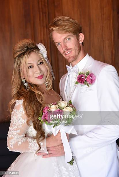 Alice Aoki and Justin Moore marry at the Avalon Theater on September 25 2016 in Catalina Island California