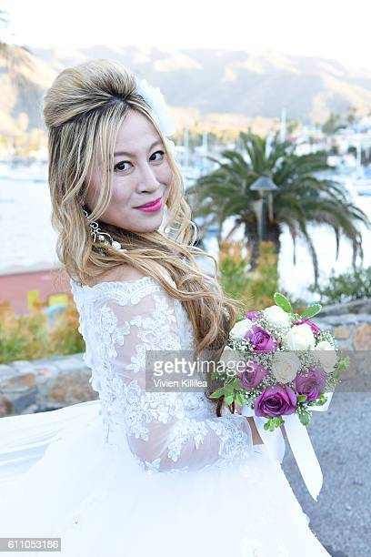 Alice Aoki arrives at her wedding ceremony at the Avalon Theater on September 25 2016 on Catalina Island California