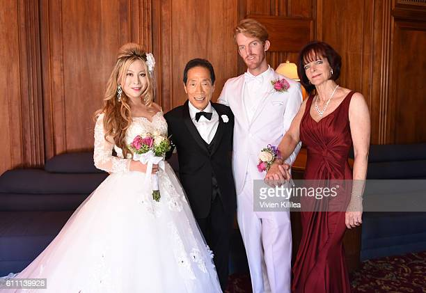 Alice Aoki Dr Kaneko Justin Moore and Karen Moore at the Aoki wedding ceremony at the Avalon Theater on September 25 2016 on Catalina Island...