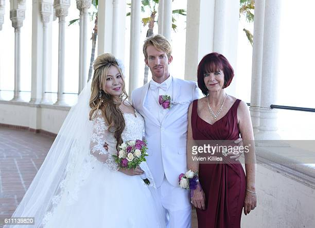 Alice Aoki Justin Moore Aoki and Karen Moore attend the Aoki wedding ceremony at the Avalon Ballroom on September 25 2016 on Catalina Island...