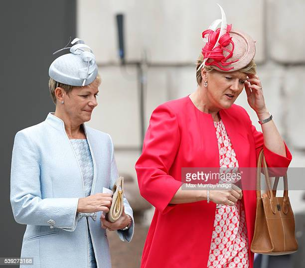 Alice Arnold and Clare Balding attend a national service of thanksgiving to mark Queen Elizabeth II's 90th birthday at St Paul's Cathedral on June 10...
