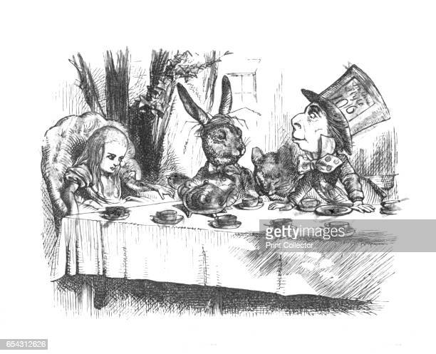 Alice at the Mad Hatters tea party 1889 Lewis Carrolls Alice in Wonderland as illustrated by John Tenniel From Alices Adventures in Wonderland by...