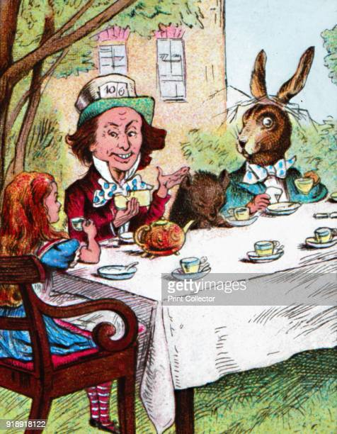 'Alice at the Mad Hatter's Tea Party' c1910 From Alice in Wonderland by Lewis Carroll [W Butcher Sons London c1910]Artist John Tenniel