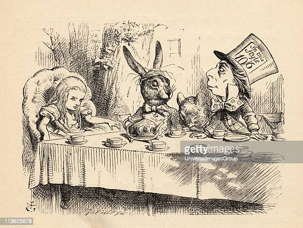 Alice at the Mad Hatter's Tea Party Illustration by John Tenniel from the book Alices's Adventures in Wonderland by Lewis Carroll published 1891