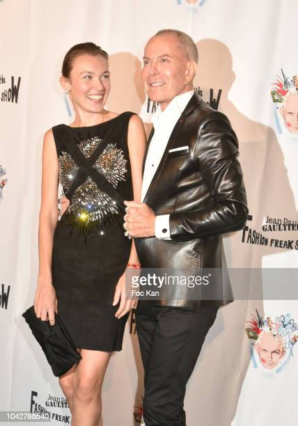 Alice Aufray and Jean Claude Jitrois attend Jean Paul Gaultier Fashion Freak Show Premiere at Follies Bergeres on September 28 2018 in Paris France
