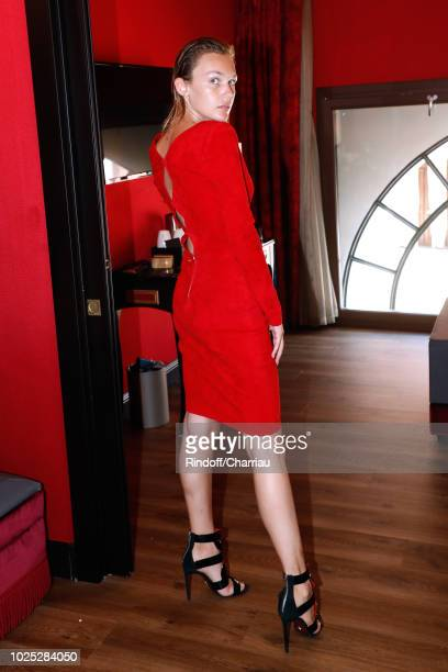 Alice Aufray dressed in JeanClaude Litrois poses Backstage before 'The Aspern' photocall during the 75th Venice Film Festival on August 30 2018 in...