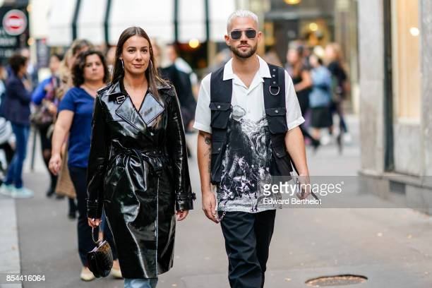 Alice Barbier and Jean Sebastien Rocques are seen outside Koche during Paris Fashion Week Womenswear Spring/Summer 2018 on September 26 2017 in Paris...