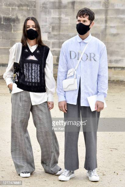 Alice Barbier and Jean Sebastien Roques attend the Dior Womenswear Spring/Summer 2021show as part of Paris Fashion Week on September 29, 2020 in...