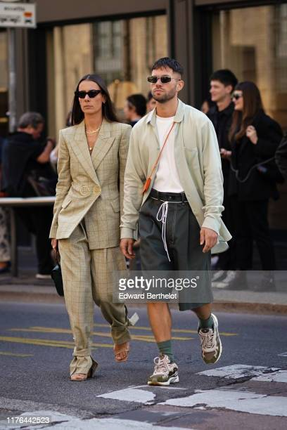 Alice Barbier and JeanSebastien Rocques attend the Ermanno Scervino show at Milan Fashion Week Spring Summer 2020 on September 21 2019 in Milan Italy