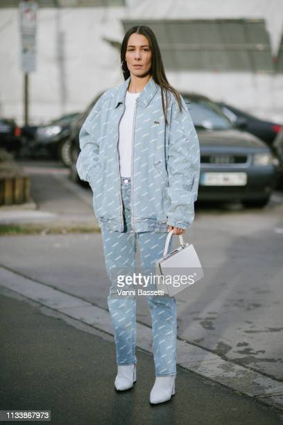 Alice Barbier poses wearing Lacoste after the Lacoste show at the Tennis Club de Paris during Paris Fashion Week Womenswear Fall Winter 2019/2020 on...