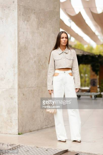 Alice Barbier wearing beige cropped jacket, cut off white pants outside Rick Owens during Paris Fashion Week - Womenswear Spring Summer 2020 on...