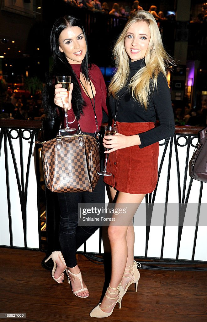 Alice Barlow (R) and friend attend the 15th birthday party of Hard Rock Cafe on September 17, 2015 in Manchester, England.