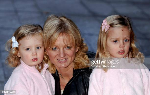Alice Beer and her daughters arrive for the VIP press launch of The Snowman, at the Peacock Theatre in central London.