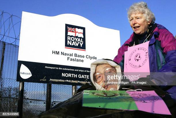 Alice Beer and her friend Liz Brandow protest outside Faslane on the River Clyde Scotland the Trident nuclear submarine base