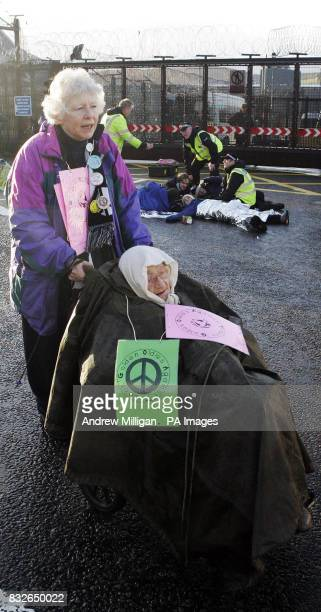 Alice Beer with her friend Liz Brandow outside Faslane on the River Clyde Scotland the Trident nuclear submarine base