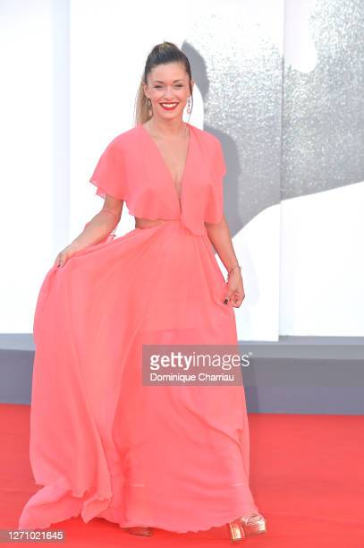"""Alice Bellagamba walks the red carpet ahead of the movie """"The World To Come"""" at the 77th Venice Film Festival on September 06, 2020 in Venice, Italy."""