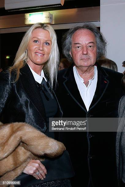 Alice Bertheaume and her companion Gonzague SaintBris attend Le Retour De Marlene Dietrich Theater Play at Espace Pierre Cardin on February 17 2016...
