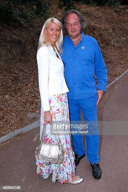 Alice Bertheaume and her companion Gonzague SaintBris attend the 'Fabrice Luchini Poesie ' show during the 31th Ramatuelle Festival Day 10 on August...