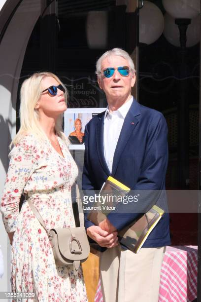 Alice Bertheaume and Jean Claude Narcy attend Duchess Hermine de ClermontTonnerre Funeral at Eglise SaintPierre de Montmartre on July 09 2020 in...