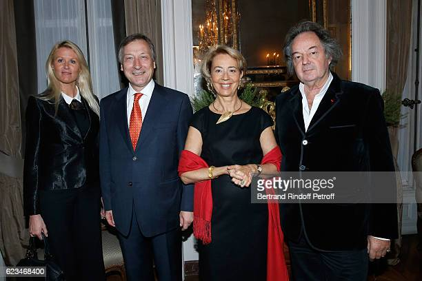 Alice Bertheaume Belgium Ambassador to France Vincent Mertens de Wilmars his wife MarieJoelle and Gonzague Saint Bris attend the Reception for the...