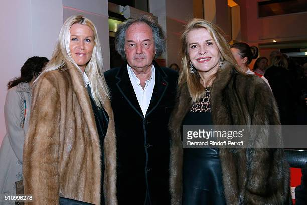 Alice Bertheaume her companion Gonzague SaintBris and Eugenia Grandchamp Des Raux attend Le Retour De Marlene Dietrich Theater Play at Espace Pierre...