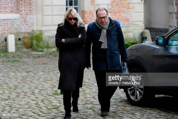 Alice Bertheaume partner of late French writer Gonzague Saint Bris arrives with her lawyer at the courthouse in Lisieux northwestern France on...