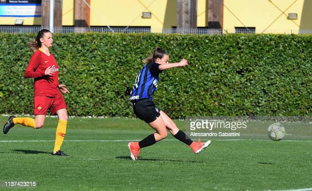 Alice Berti of FC Internazionale U19 Women scores his team second goal during the Serie A Primavera Final Four first place match between FC...