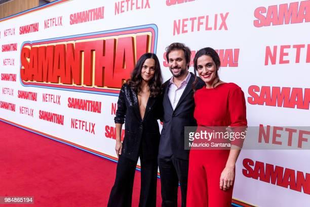 Alice Braga Felipe Braga and Rita Moraes attend the Netflix Samantha Sao Paulo Premiere at Shopping JK Iguatemi on June 26 2018 in Sao Paulo Brazil