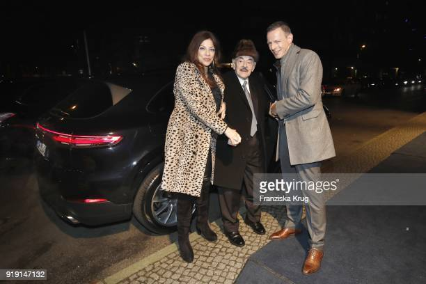 Alice Brauner Artur Brauner and Michael Zechbauer attend the Porsche at Blue Hour Party hosted by ARD during the 68th Berlinale International Film...